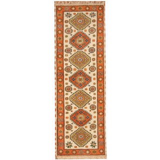 Herat Oriental Indo Hand-knotted Tribal Kazak Wool Runner (2'9 x 8'3)