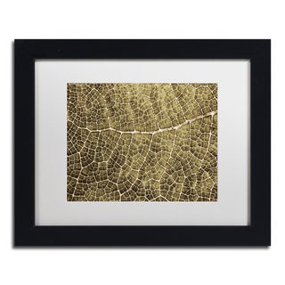 Cora Niele 'Sepia Leaf Texture' Matted Framed Art