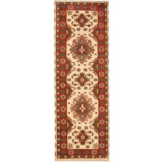 Herat Oriental Indo Hand-knotted Tribal Kazak Wool Runner (3' x 8'5)