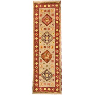 Herat Oriental Indo Hand-knotted Tribal Kazak Wool Runner (2'6 x 8'4)
