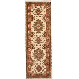 Herat Oriental Indo Hand-knotted Tribal Kazak Wool Runner (2'10 x 8'3)
