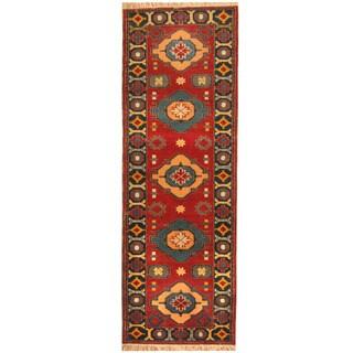 Herat Oriental Indo Hand-knotted Tribal Kazak Wool Runner (2'10 x 8'2)