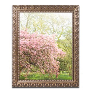 Ariane Moshayedi 'Pink Cherry Blossoms' Ornate Framed Art
