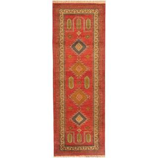 Herat Oriental Indo Hand-knotted Tribal Kazak Wool Runner (2'9 x 8')