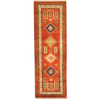 Herat Oriental Indo Hand-knotted Tribal Kazak Wool Runner (2'9 x 8'1)