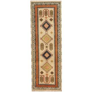 Herat Oriental Indo Hand-knotted Tribal Kazak Wool Runner (2'10 x 8'1)