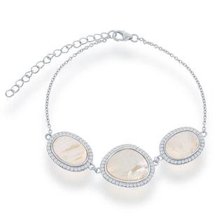 La Preciosa Sterling Silver Mother of Pearl and Cubic Zirconia Heavy Fashion Bracelet