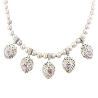 One-of-a-kind Michael Valitutti Palladium Silver Love Locks Pink Amethyst Mother Of Pearl Necklace with Magnetic clasp