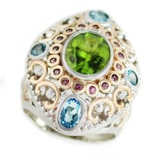 Dallas Prince Sterling Silver Peridot, Swiss Blue Topaz and Rhodolite Ring