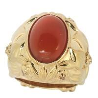 Dallas Prince Sterling Silver Carnilian and White Sapphire Ring