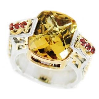 Dallas Prince Palladium Silver Citrine, Garnet and Orange Sapphire Ring