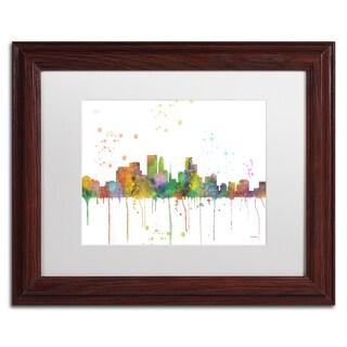Marlene Watson 'Minneapolis Minnesota Skyline' Matted Framed Art