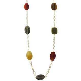 Luxiro Gold Finish Citrine and Jade Semi-precious Gemstone Necklace