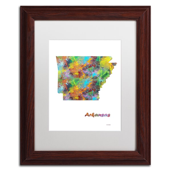 Marlene Watson 'Arkansas State Map-1' Matted Framed Art