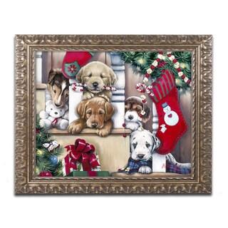 Jenny Newland 'A Tail Wagging Christmas' Ornate Framed Art
