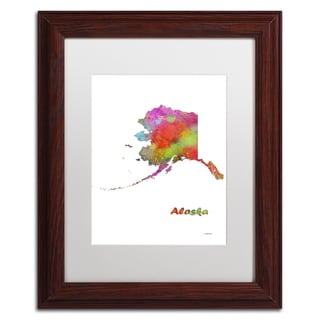 Marlene Watson 'Alaska State Map-1' Matted Framed Art