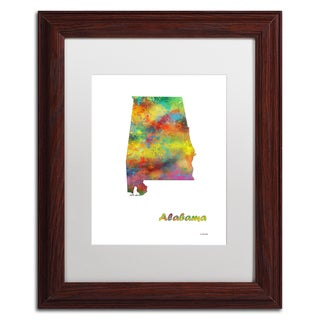 Marlene Watson 'Alabama State Map-1' Matted Framed Art
