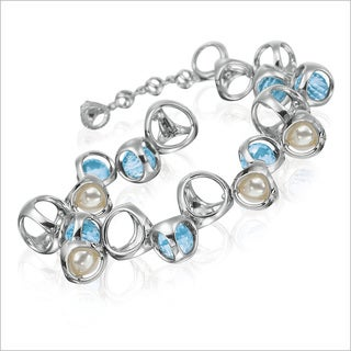 Di Modolo Rhodium-plated Sterling Silver Blue Quartz and Pearl Bracelet