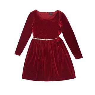Tahari Women's Red Velvet Belted Dress