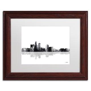 Marlene Watson 'Des Moines Iowa Skyline BG-1' Matted Framed Art