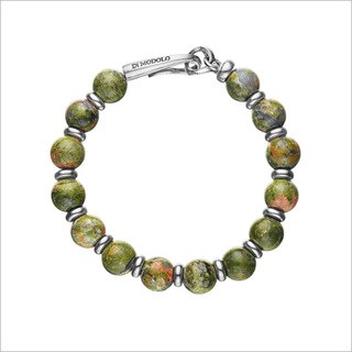 Di Modolo Rhodium-plated Sterling Silver Unakite Stone Bracelet