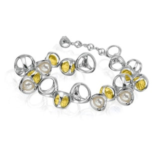 Di Modolo Women's Golden Quartz and Pearl Rhodium-plated Sterling Silver Bracelet