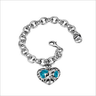 Di Modolo Rhodium-plated Sterling Silver Charm with Blue Topaz Bracelet
