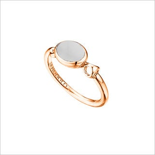 Di Modolo Rose Goldplated Sterling Silver White Agate Ring