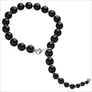 Di Modolo Rhodium-plated Sterling Silver 1/4ct TDW Diamond and Black Agate Necklace (H-I, I1-I2)