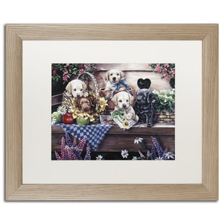 Jenny Newland 'Kittens & Puppies In The Garden' Matted Framed Art