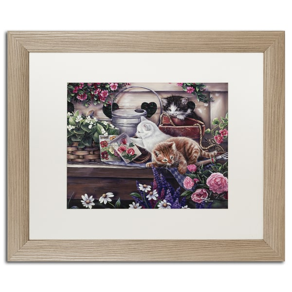 Jenny Newland 'Garden Puppies' Matted Framed Art - Brown