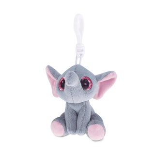 Puzzled Grey Polyester Elephant Soft Stuffed Plush Big-Eye 6-inch Backpack Clip
