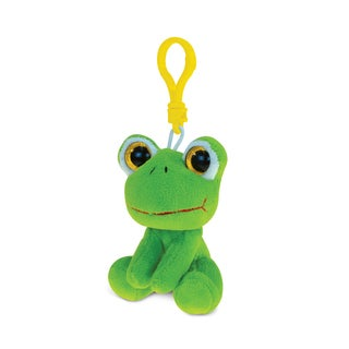 Puzzled Frog 6-inch Soft Stuffed Plush Big-eye Backpack Clip