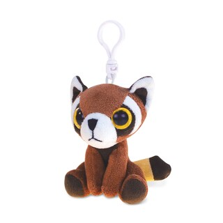 Puzzled Inc. Red Panda Polyester Soft Stuffed 5.5-inch Plush Big-eye Backpack Clip