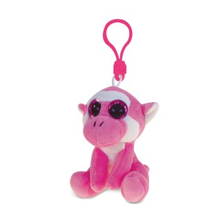 Puzzled Pink Polyester Soft Stuffed Plush Big-Eye Monkey Backpack Clip