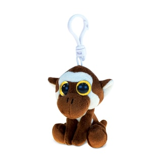 Puzzled Big-eye Brown Monkey Multicolor Polyester 6-inch Plush Backpack Clip