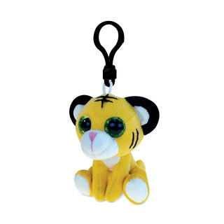 Puzzled Tiger 6-inch Soft Stuffed Plush Big-eye Backpack Clip