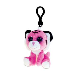 Puzzled Inc. Pink Tiger Polyester 6-inch Soft Stuffed Plush Big-eyed Backpack Clip