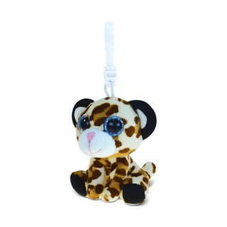 Puzzled Brown Soft Stuffed Plush Big-eye Leopard 6-inch Backpack Clip
