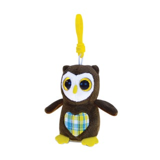 Puzzled Big-eye Owl Multicolor Polyester 6-inch Plush Backpack Clip