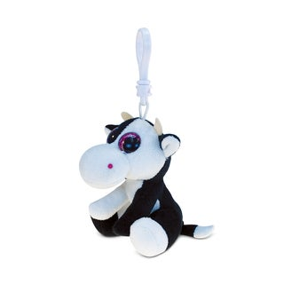 Puzzled Cow 6-inch Soft Stuffed Plush Big-eye Backpack Clip