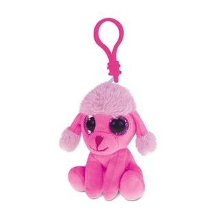 Puzzled Pink Polyester Poodle Dog Soft Stuffed Plush Big-Eye Backpack Clip