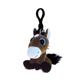 Puzzled Inc. Horse Polyester Soft Stuffed 5.75-inch Plush Big-eye Backpack Clip