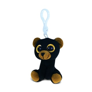 Puzzled Black Polyester Plush Stuffed Big-eye Backpack Clip