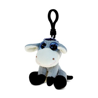 Puzzled Inc. Donkey Multicolored Polyester 5.25-inch Soft Stuffed Plush Big-eyed Backpack Clip