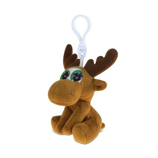 Puzzled Moose Soft Stuffed Plush Big-Eye Backpack Clip