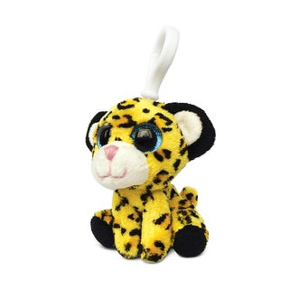 Puzzled Yellow Polyester Leopard-print Soft Stuffed Plush 6-inch Backpack Clip