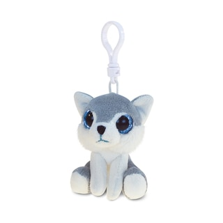 Puzzled Polyester 6-inch Wolf Soft Stuffed Plush Big-eyed Backpack Clip