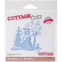 """CottageCutz Elites Die -Snowman W/Animals, 3.3""""X3.3"""""""