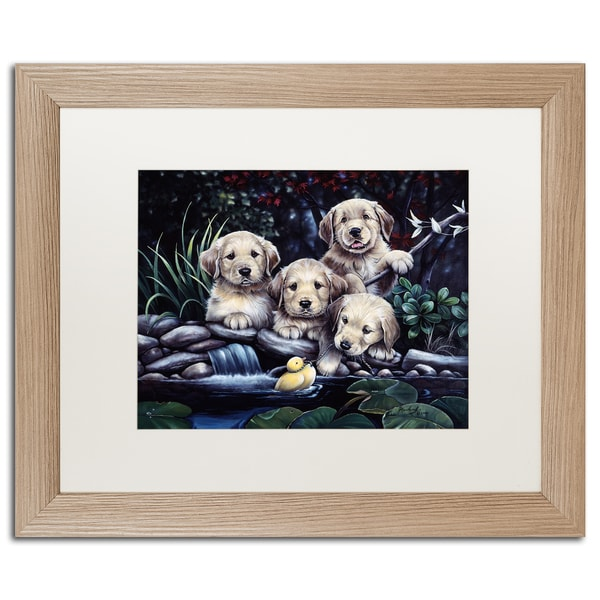 Jenny Newland 'Country Pups and Kittens II' Matted Framed Art